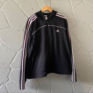 Women's Black and Pink Adidas Zip-up Jacket
